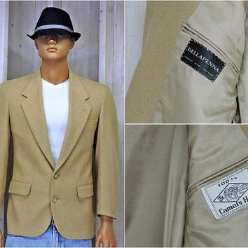 Camel Hair sports coat size M  40 chest / Vintage Dellapenna Italy suit coat / 100 percent camel hair