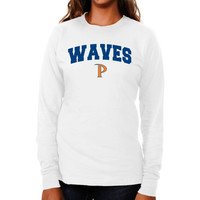 Pepperdine Waves Ladies Logo Arch Long Sleeve Slim Fit T-Shirt - White