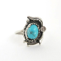 Vintage Southwest Turquoise Ring Sterling Silver Flower Feather Size 6.75, Christmas Gift For Her
