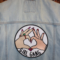 Extra Large Girl Gang Iron On Back Patch Embroidery Sewing DIY Customise Denim Cotton Feminist Cute Riot Grrrl Punk Heart Hands
