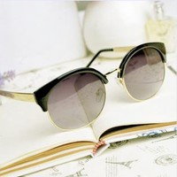 Cat Eye Sunglasses With  Cut Away Detail
