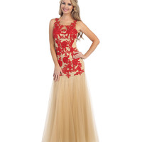 Red & Nude Embellished Sheer Rose Tulle Gown 2015 Prom Dresses