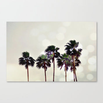Palm Tree Family - Gallery Wrap Canvas, Beach Surf Decor Hanging, Light Gray Tropical Bokeh Wall Art. In 8x10 11x14 16x20 20x24 24x36 Inch