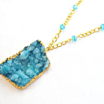 Blue Druzy Necklace, Blue Quartz Necklace, Geode Necklace, Turquoise Druzy, Blue Chunky Pendant, Gold Plated, Handmade Necklace, UK Seller