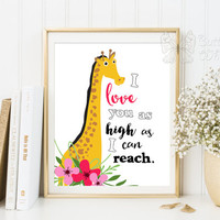 Nursery quotes wall decor I love you wall art home decor poster giraffe animal print nursery decor kids room girafe art baby print quote