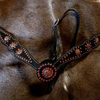 Horse Western Leather Cowboy Breast collar Chest Strap Orange Black Bling Tack K
