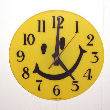 Vintage Yellow Smiley Face Wall Clock  - Harvest Time