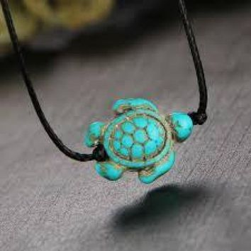Leather Turquoise Sea Turtle Anklet
