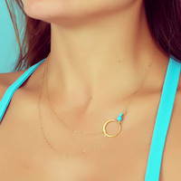 """Layering necklace, turquoise necklace, assymetrical necklace, simple gold necklace, bridesmaid necklace,  silver circle necklace, """"Sinope"""""""