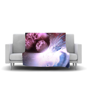 "Infinite Spray Art ""Space Tube"" Pink Purple Fleece Throw Blanket"
