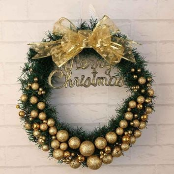 Merry Christmas Wreath 30cm Window Door Decorations Gold Powder Ball Ornament