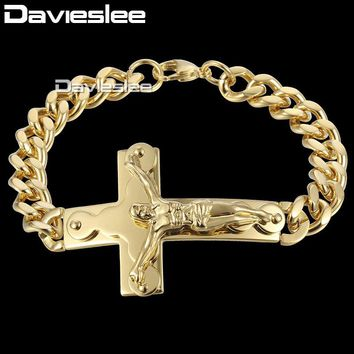 Cross Charm Mens Bracelet Chain Crucifix Jesus Christ Curb Cuban Link Stainless Steel Gold Bracelets for Men 20.5cm DKB547