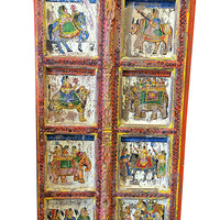 Antique Hand Carved panels Indian princess Jhansi on horse, teak Door panels - Classic eclectic indian vintage