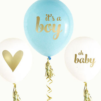 Blue And Gold Boy Baby Shower Balloons (Set of 3)