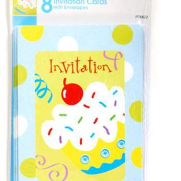 Birthday Boy Blue Cupcake Invitation Cards (8 count) Case Pack 36
