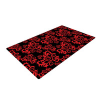 "Mydeas ""Sweetheart Damask Black & Red"" Pattern Woven Area Rug"
