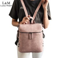 Simple Style Backpack Women PU Leather Backpacks For Teenage Girls School Bags Fashion Vintage Solid Shoulder Bag Pink XA568H