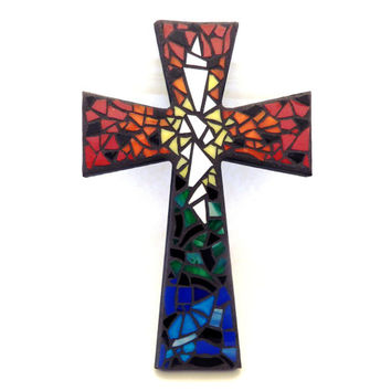 "Mosaic Wall Cross, Rainbow, Multicolored Handmade Stained Glass Mosaic Design, 12"" x 8"""