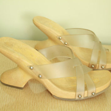 Vintage - 90s - Faux Wood - Clear Jelly - Strappy - Chunky - Slip On - Platform - Wedge - Sandals - Clogs - High Heel Shoes - 8.5/9