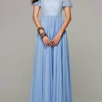 BlueEmbroidered Chiffon Maxi Dress