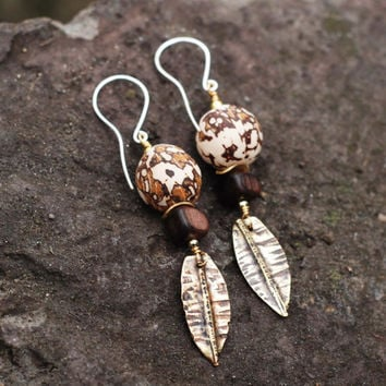 Natural materials dangling earrings tagua nut, mabolo wood, brass, sterling silver / Rustic / Boho / Hippie / African / Tribal jewelry