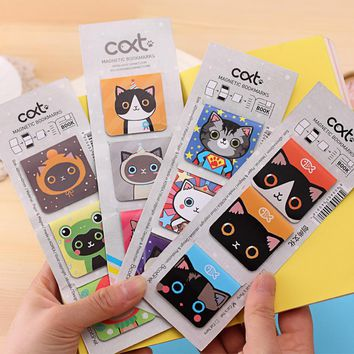3pcs/lot Cute Kawaii Magnetic Paper Bookmark Lovely Cartoon Cat Bookmarks For Kids Korean Stationery Free Shipping