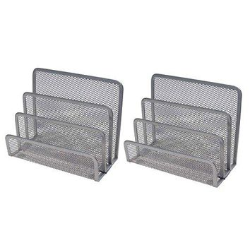 VANRA Small Letter Sorter Pack of 2 Desktop File Organizer Metal Mesh Paper Stacking Sorter Holder 3 Slots 2 Black