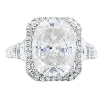 12x9mm First Crush (Crushed Ice) Cushion Moissanite 4 Double Prongs Diamond Halo Design Ring