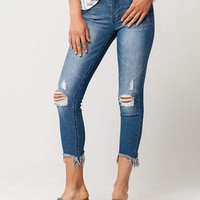SKY AND SPARROW Fray Ankle Womens Skinny Jeans | Ankle