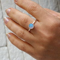 Blue opal ring , silver opal ring , small opal ring , opal ring , stacking ring , minimalist ring , thin silver ring , gemstone ring