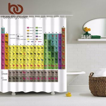 """BeddingOutlet Periodic Table of Chemical Elements Theme Bathroom Shower Curtain Polyester Waterproof Bathroom Set 71"""" x 71"""""""