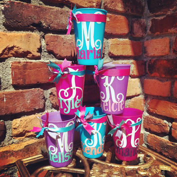 Personalized Cups, Custom Plastic Tumbler, Birthday, Party, Favor, Bride, Bridesmaid, Flower Girl, Party, Gift, Pink, Purple, Blue, Yellow