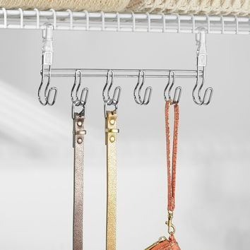 InterDesign Wire Shelving Organizer, Under Shelf Hooks -6, Chrome/Clear