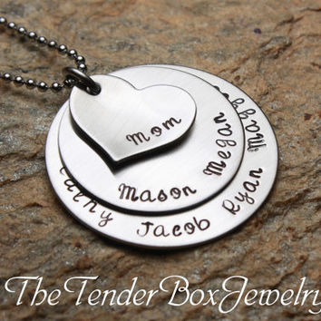 Free Shipping Personalized Mothers Mom Necklace, custom necklace stainless large family necklace
