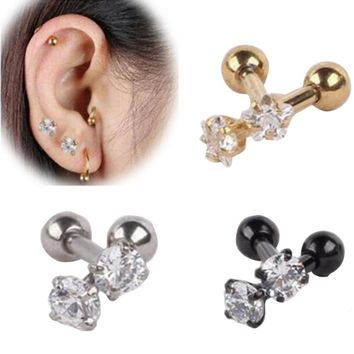 2Piece Free Shipping 16G Zircon Crystal Earring Ear Stud Stainless Steel Round Star Heart Tragus Ear Piercing Helix Body Jewelry