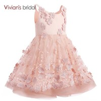 Bridal Scoop Neck Pink First Dresses for Girls Ball Gown Flower Girl Dresses Short Birthday Gown