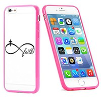 Popular Apple iPhone 6 or 6s Christian Faith Infinity Cross Cute Gift for Teens TPU Bumper Case Cover Mobile Phone Accessories Hot Pink