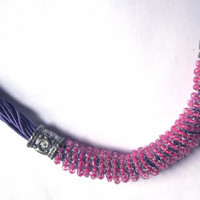 Purple pink necklace fashion jewelry one of a kind ooak
