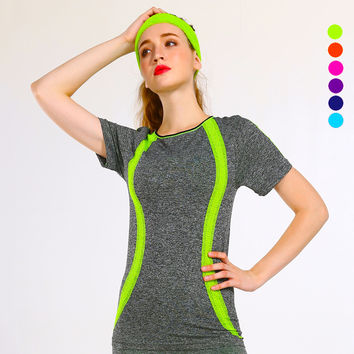Women Yoga T-shirt Quick Dry Breathable Running Short Sleeve 6 colors