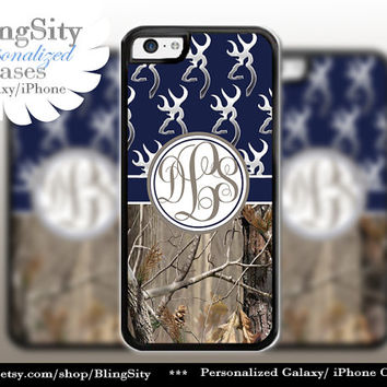Monogram Iphone 5C case Browning Navy iPhone 5s iPhone 4 case Ipod 4 5 Touch case Real Tree Camo Deer Personalized Country Inspired Girl