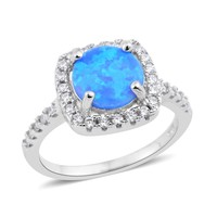 Blue Opal Sterling Silver Ring