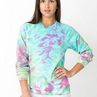 Unisex Tie Dye Fleece Crewneck Pullover Drop-Shoulder Sweatshirt