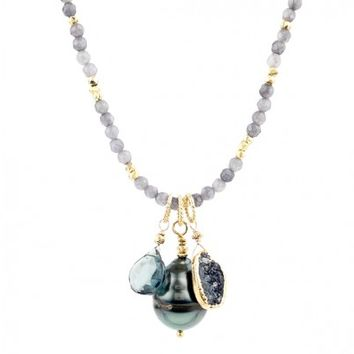 Tahitian Pearl, Druzy, and Blue Quartz Cluster Necklace