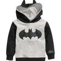 H&M - Printed Hooded Sweater - Grey/Batman - Kids