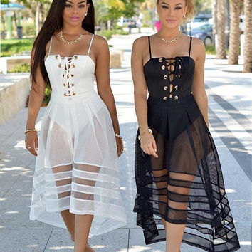 Lace-Up Strapy Maxi Dress