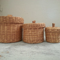 trio of vintage baskets with lids . vintage woven lidded baskets . nesting baskets . woven baskets . country decor straw