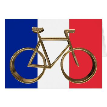 French Flag Golden Bike Bicycle Cycling Cyclist Card
