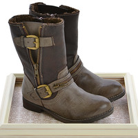 Volatile Kids Moto Boots in Brown