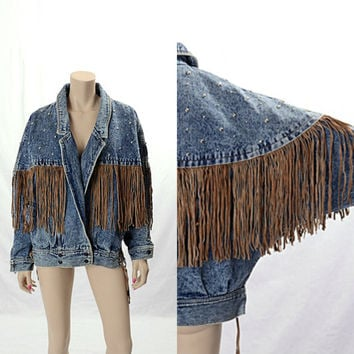 Vintage 80s Acid Wash Denim Leather Fringe Studded Jacket 1980s Batwing Grunge Punk Rocker Studs Emo Hipster Coat Hip Hop East West