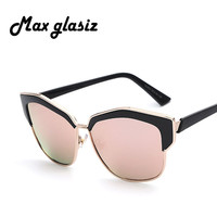 MaxGlasiz Sunglasses female 2016 Women pink mirror sunglass fashion sunglasses newest style with metal frame sunglasses eyewear